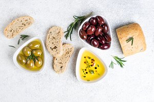 Ciabatta bread, olives and herbs