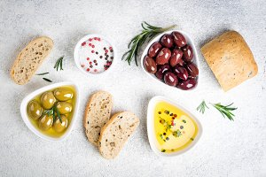 Mediterranean snacks with olives