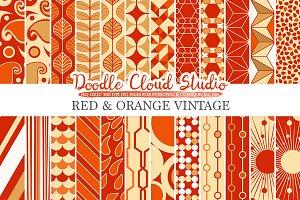 Red and Orange Retro digital paper