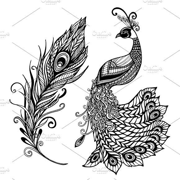 Peacock Feather Design Black Print