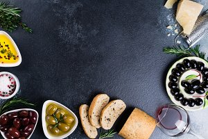 Olives, red wine, ciabatta, cheese