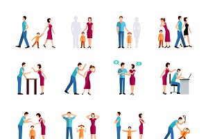 Family problems color icons set