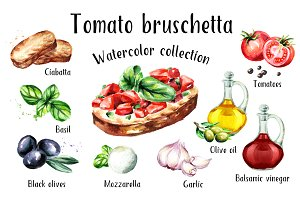 Bruschetta. Watercolor