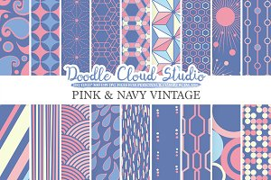 Pink and Navy Retro digital paper