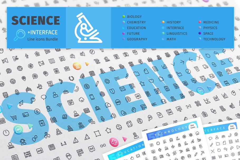 Science 700+ Line Icons Bundle