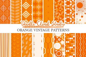 Orange Retro digital paper