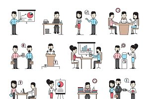 Business people workplace icons