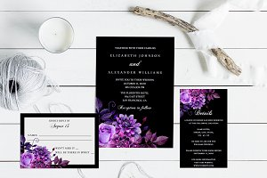 Black and purple wedding invitation