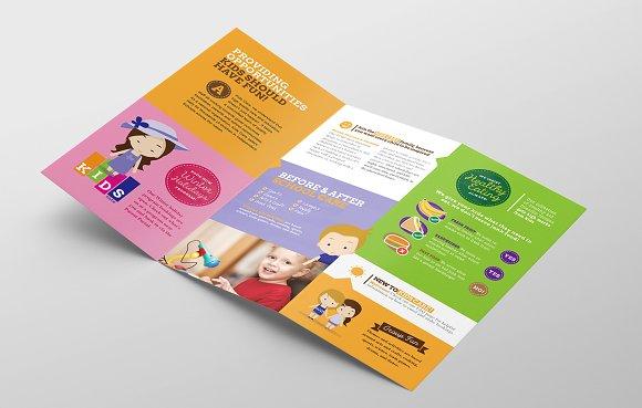 Trifold After School Care Template Brochure Templates Creative