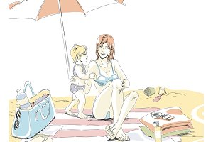Mom with her child on the beach
