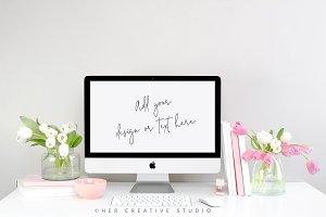 Styled Desktop Mockup, Spring Tulips