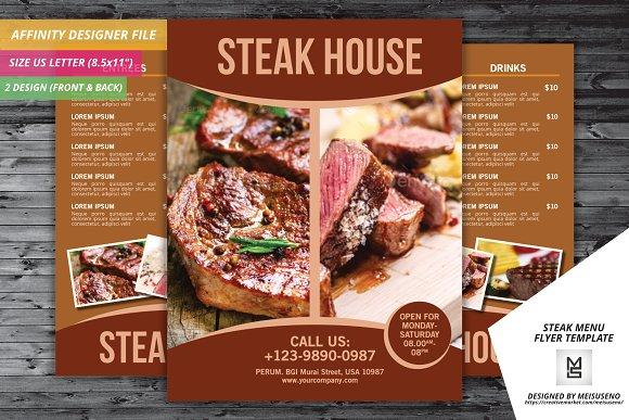 steak menu flyer template flyer templates creative market