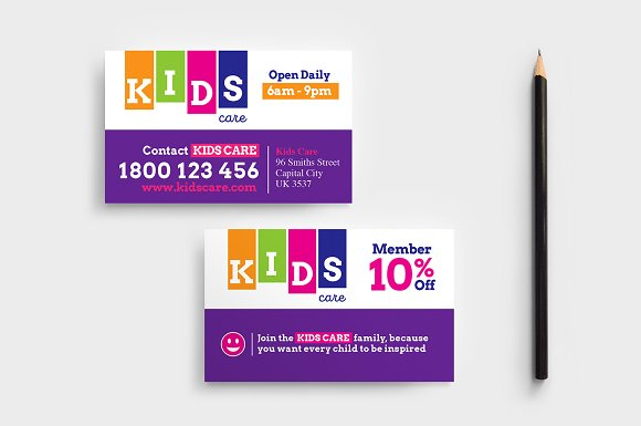 After School Care Business Card Business Card Templates Creative