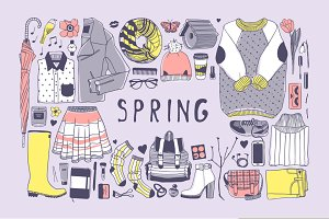 Spring objects + 5 patterns + 9 sets