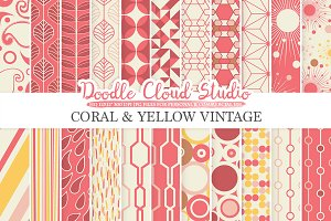 Coral and Yellow Retro digital paper