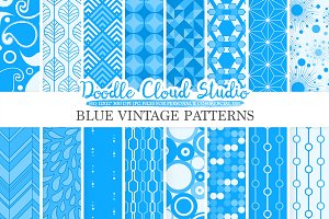 Blue Retro digital paper
