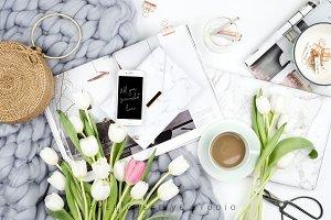 Styled Stock Image, Tulip Flatlay