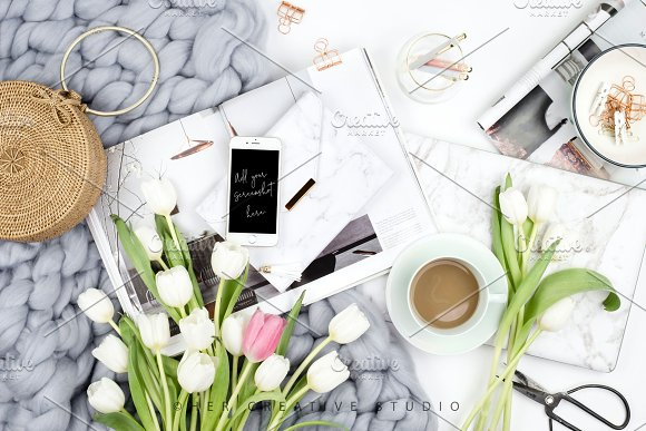 Download Styled Stock Image, Tulip Flatlay