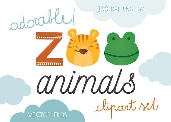 Cute Wild Animals Illustration Set