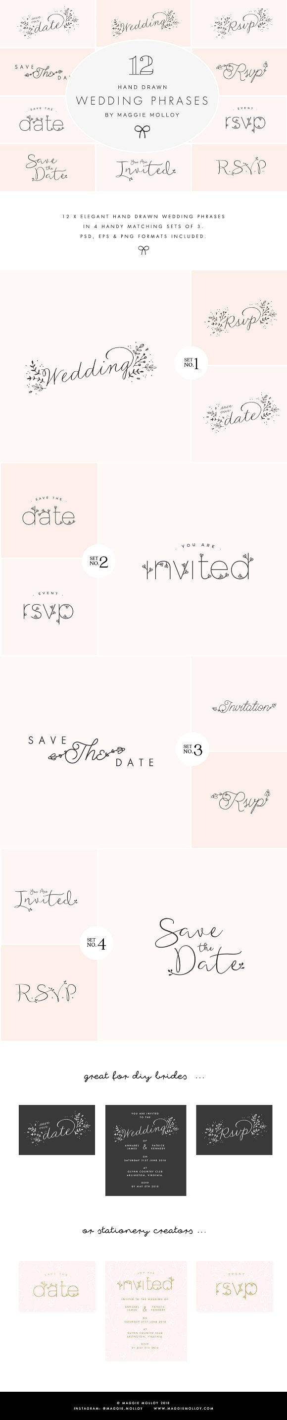 Hand Drawn Wedding Art EPS PSD PNG