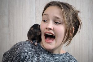 Rat on a girl's shoulder