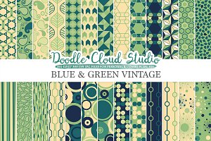 Blue and Green Retro digital paper