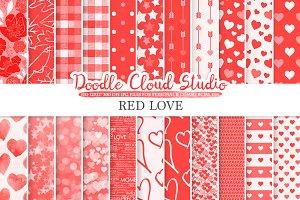 Red Romantic digital paper