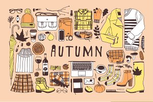 Autumn objects + 5 patterns + 9 sets