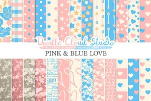 Pink and Blue Romantic digital paper