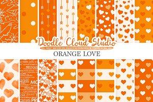 Orange Romantic digital paper