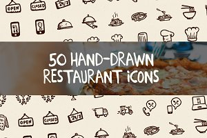 50 Hand-Drawn Restaurant Icons