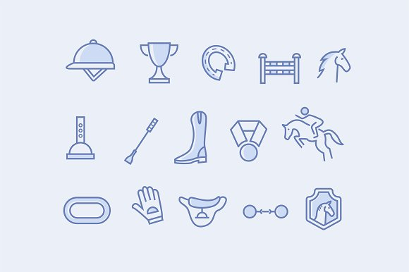 15 Horse Racing Icons in Graphics