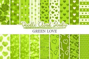 Green Romantic digital paper