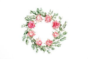 Frame wreath of roses and eucalyptus