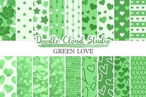 Dark Green Romantic digital paper