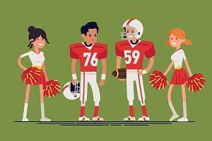 Flat Characters: American Football