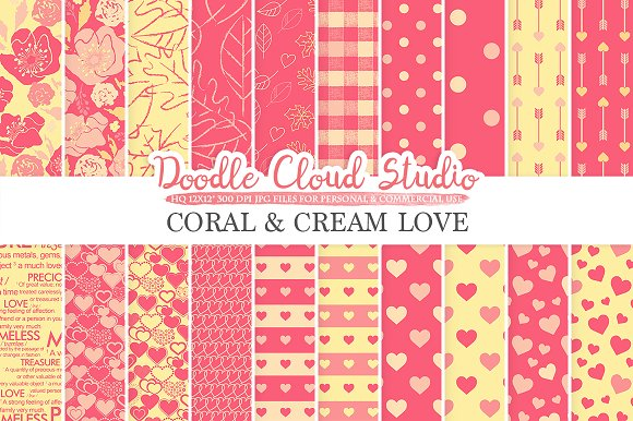 Coral And Cream Romantic Digital Pap