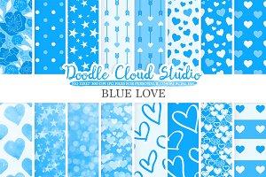 Blue Romantic digital paper
