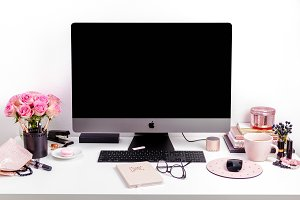 Pink desktop office stock photo