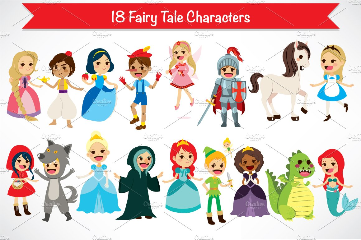 18 fairy tale characters illustrations creative market