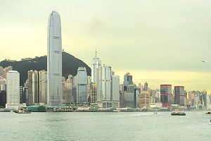 Hong Kong sunset panorama