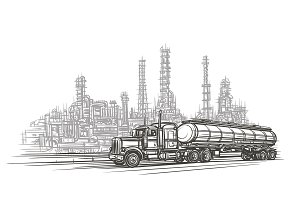 Truck in industry zone sketch.