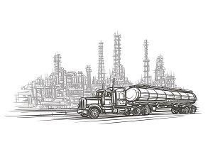 Truck in industry zone sketch.