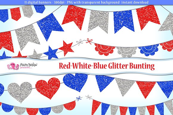 Red White And Blue Glitter Bunting