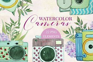 Watercolor Cameras Clip Art Set