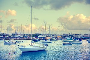 harbor with maltese yachts and boats