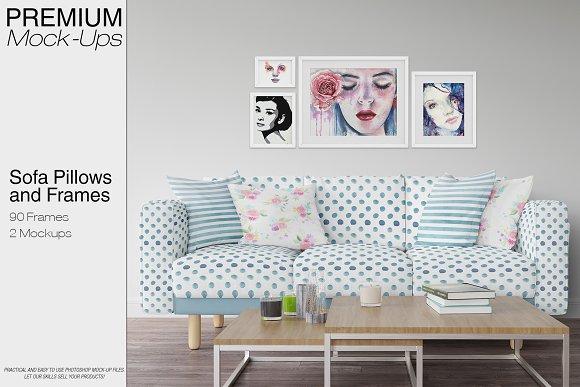 Sofa Pillows Frames Mockup Pack