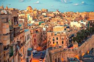 european city Valletta with balconie