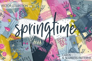 Spring cards and seamless patterns