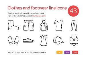 Clothes and Footwear Line Icons Set